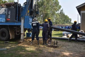 The Water Project: Bukhakunga Primary School -  Surface Casing Placement