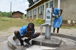 The Water Project: Bukhakunga Primary School -  Drinking From The New Borehole