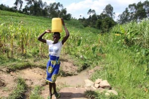 The Water Project: Shiana Community, Masiache Spring -  Carrying Water