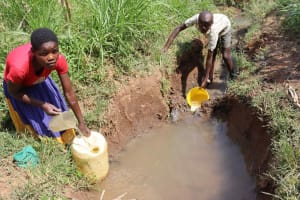 The Water Project: Makunga Community, Akinda Spring -  Collecting Water