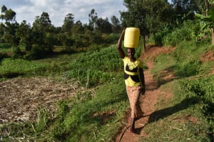 The Water Project: Makunga Community, Akinda Spring -  Carrying Water