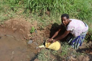 The Water Project: Makunga Community, Akinda Spring -  Hellen Fetching Water