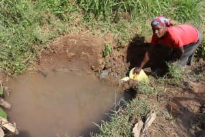 The Water Project: Makunga Community, Akinda Spring -  Joan Fetching Water