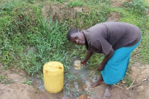 The Water Project: Makunga Community, Malaha Spring -  Elvine Fetching Water