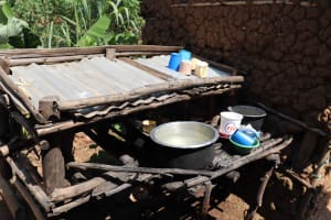 The Water Project: Emulele Community, Fanice Opati Spring -  Dishes Drying
