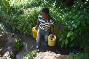 The Water Project: Isembe Community, Inyende Spring -  Heavy Jerrycans