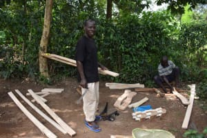 The Water Project: Lunyinya Community, Steven Shitundo Spring -  Peter Doing Carpentry At Home