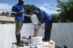 The Water Project: Masoila Roman Catholic Primary School -  Pump Nearly Installed