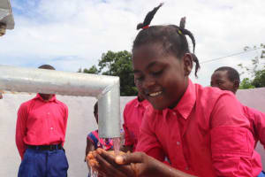 The Water Project: Masoila Roman Catholic Primary School -  Fatmata At Pump