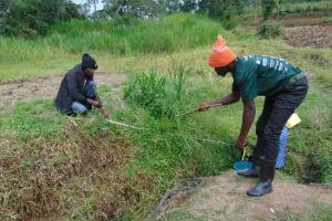 The Water Project: Mukangu Community, Mukasia Spring -  Foundation Measurement