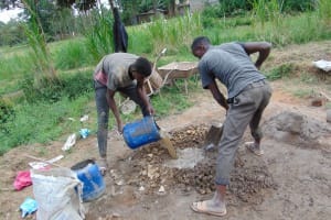 The Water Project: Mukangu Community, Mukasia Spring -  Mixing Cement