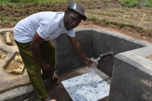 The Water Project: Mukangu Community, Mukasia Spring -  Collecting Water