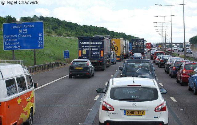M25 traffic jam - London drivers