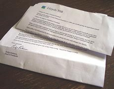 A letter from the bank