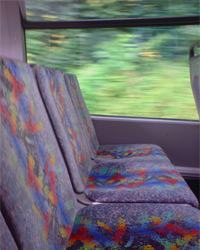 Bus seats on a moving bus