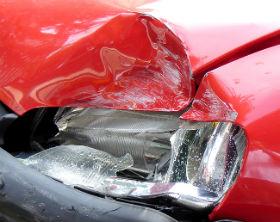 A damaged car.