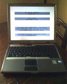 Dell D600 Latitude laptop, bios password error