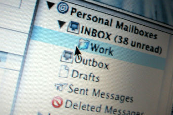 Email inbox, emails about jobs