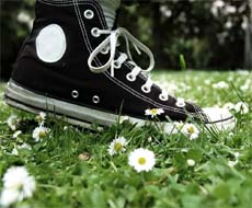 Foot on a lawn
