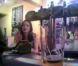 The local pub, bar staff