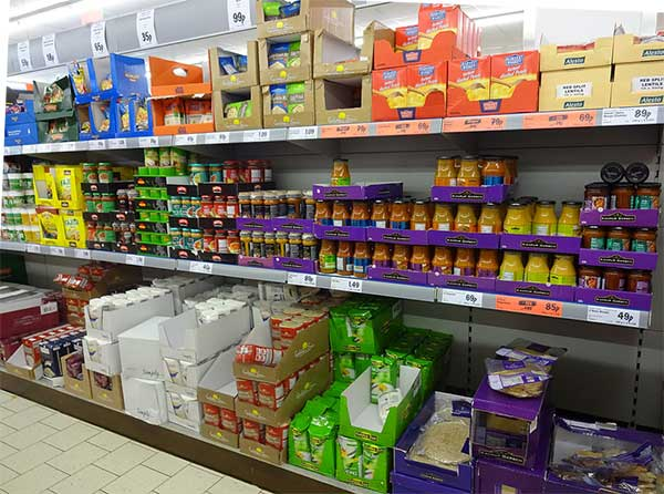 Products on the shelves at Lidl