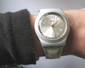 Lunch time, on time, looking at the watch