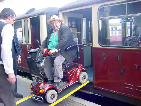 Mobility scooter on a train