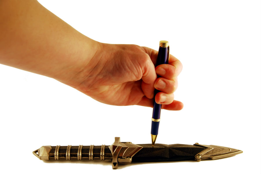 Stupid sayings - The pen is mightier than the sword