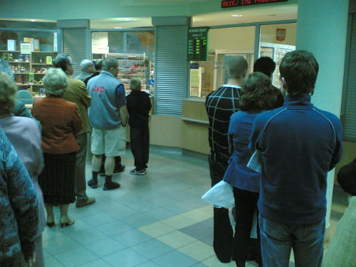 A post office queue, when it's not okay to let others go in front of you