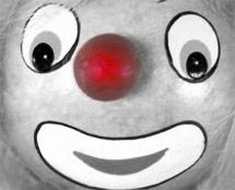 A clown face, red nose day, Comic Relief