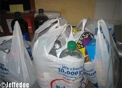 Packed shopping bags