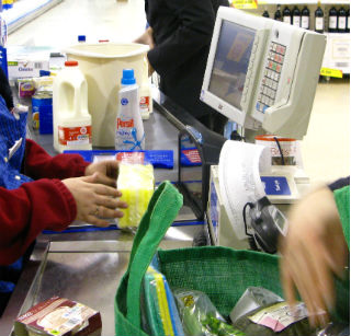 A queue at the supermarket checkout