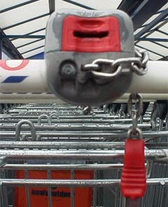 Shopping trolley in supermarket