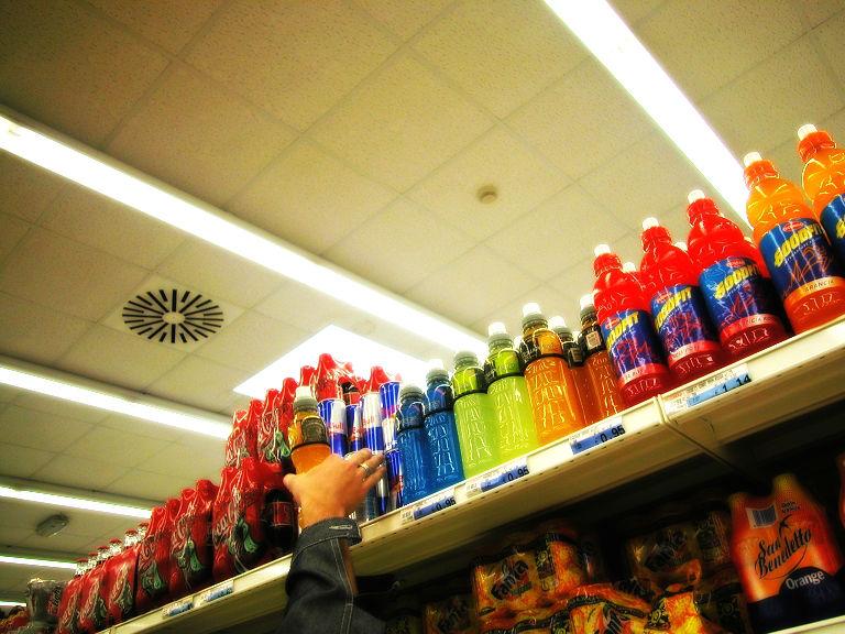 Supermarket shelves and damaged products