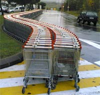 Trolley's snaking into the distance at a supermarket