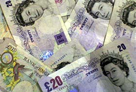 Bank charges unfair, pile of twenty pound notes