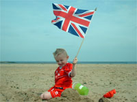 A boy with a union jack flag