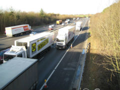 Lorry drivers deliberately blocking outside lanes