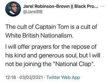Captain Tom 'cult of white British nationalism' according to Church Of England