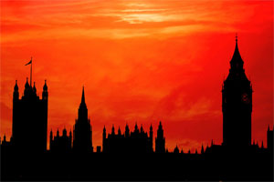 Westminster parliament in the sunset