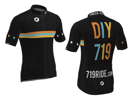 The front and back of the DIY 719 cycling jersey