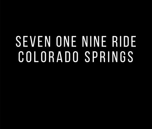 The design for the Seven One Nine Ride Colorado Springs t-shirt in black
