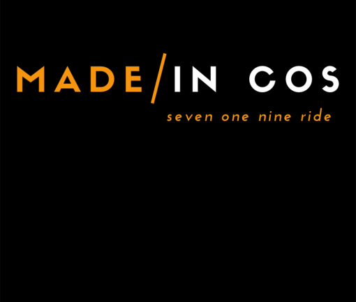 The design for the Made in COS Colorado Springs t-shirt with orange words