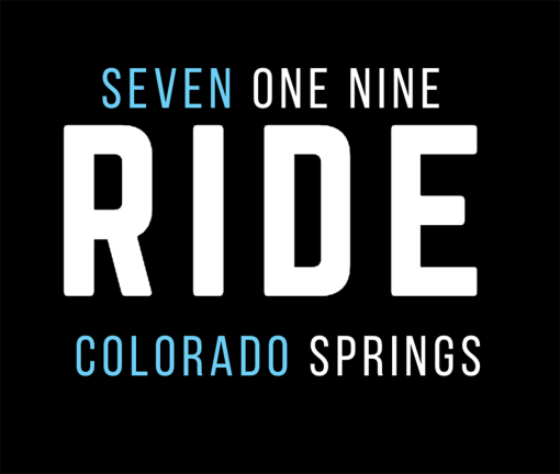The design for the 719 Ride Colorado Springs t-shirt with blue words