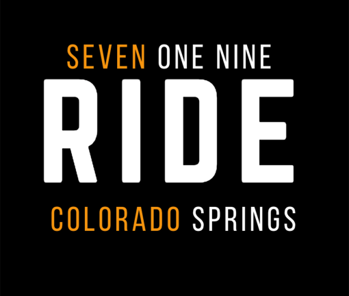 The design for the 719 Ride Colorado Springs t-shirt with orange words