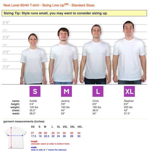 A sizing chart for a men's t-shirt