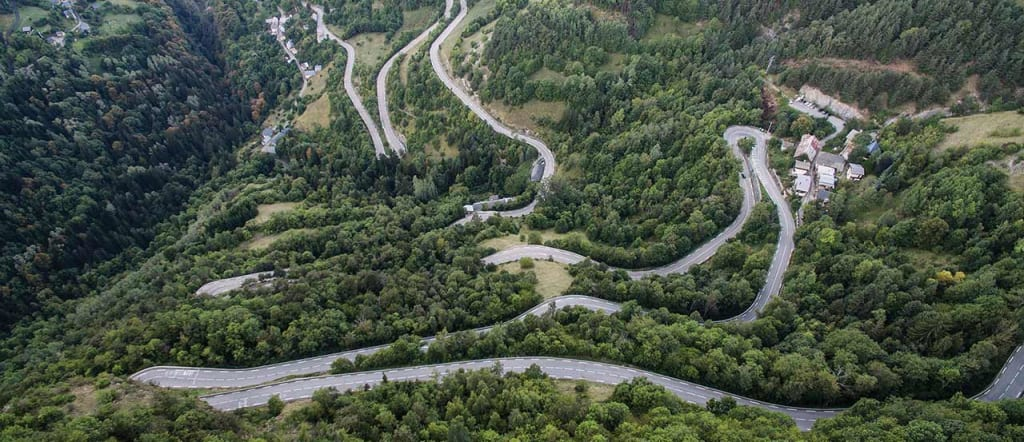Aerial view of the bends and hairpin turns of Alpe d'Huez