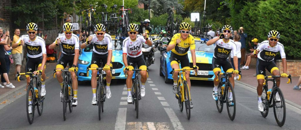 Geraint Thomas and Team Sky ride into Paris on the last stage of the 2018 Tour de France