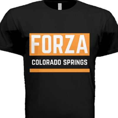 Front view of the original Forza Colorado Springs 719 Ride t-shirt