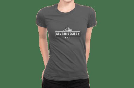 A woman modeling the DIY 719 Severo Society ladies t-shirt